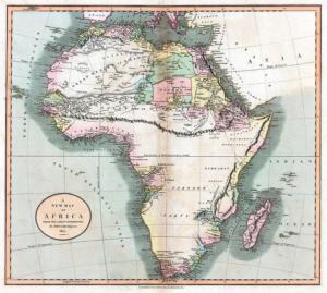 On remarquera qu'en 1811, on postulait l'existence d'une immense chaîne de montagne barrant l'Afrique d'est en ouest